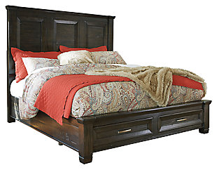 Townser Queen Panel Bed with Storage, Grayish Brown, large