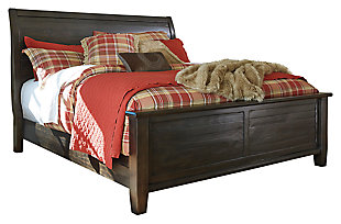 Townser Queen Sleigh Bed, Grayish Brown, large