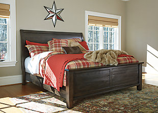 Townser Queen Sleigh Bed, Grayish Brown, rollover