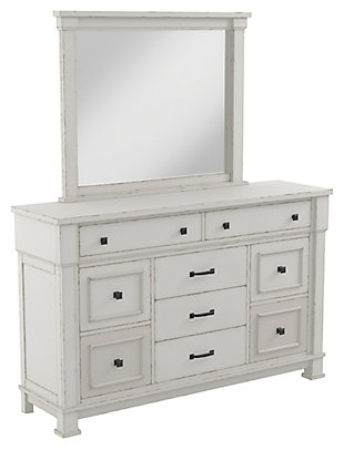 Jennily Queen Panel Bed with Mirrored Dresser, Whitewash, large
