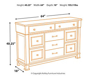 Jennily Queen Panel Bed with Dresser, Whitewash, large