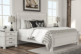 Jennily Queen Bed with 2 Nightstands, Whitewash, rollover