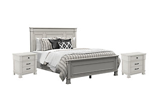 Jennily Queen Bed With 2 Nightstands Whitewash