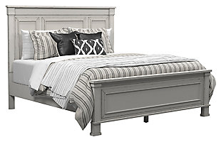Jennily Queen Panel Bed, Whitewash, large