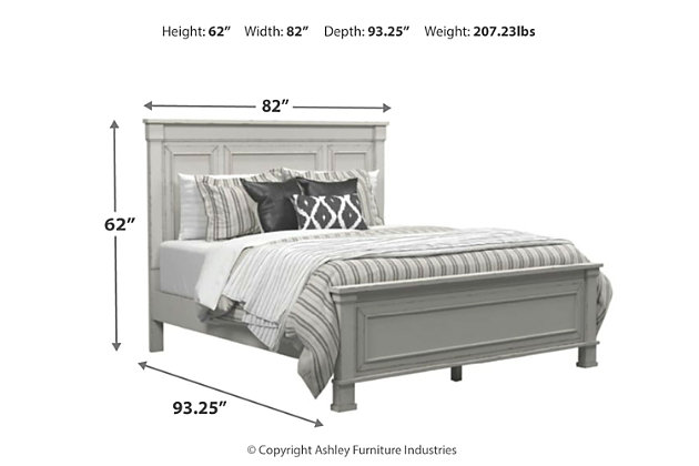 Jennily California King Panel Bed, Whitewash, large