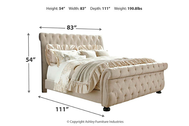 Willenburg King Upholstered Sleigh Bed, Linen, large