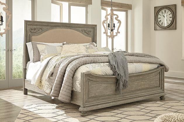 Marleny Cal King Panel Bed, Gray/Whitewash, large