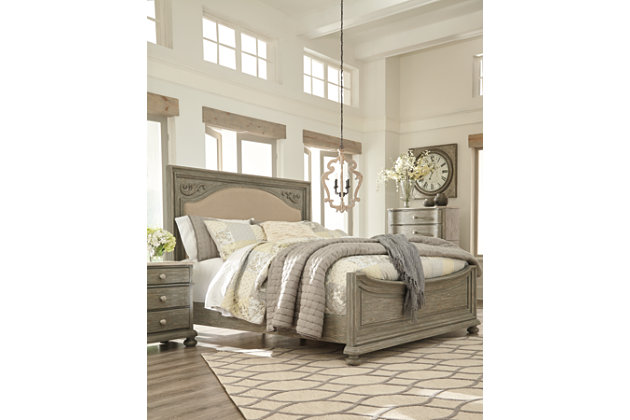 Marleny Queen Panel Bed, Gray/Whitewash, large