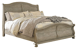 Marleny Queen Sleigh Bed, Gray/Whitewash, large