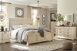 Bolanburg Queen Panel Bed with Dresser, Antique White, rollover