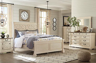 Bolanburg Queen Panel Bed with Mirrored Dresser and Chest, Antique White, rollover