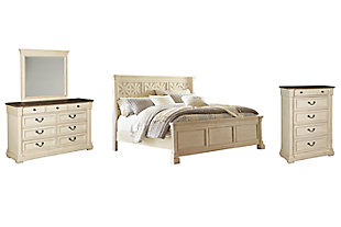 Bolanburg King Panel Bed with Mirrored Dresser and Chest, , large