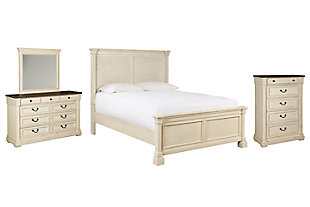 Bolanburg Queen Panel Bed with Mirrored Dresser and Chest, Antique White, large