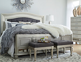 Coralayne Queen Panel Bed, Silver, large