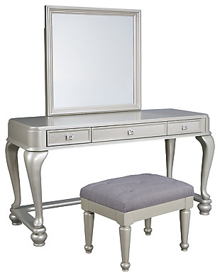 Coralayne Youth Mirrored Vanity with Chair, , large