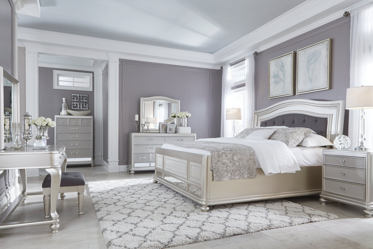 Images. Coralayne Queen Panel Bed, Silver ...