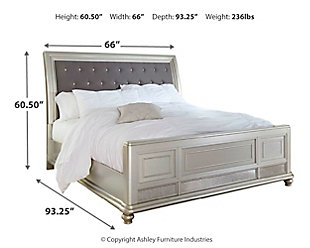 Coralayne Queen Sleigh Bed, Silver, large