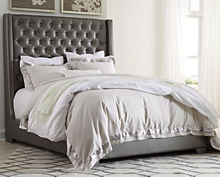 Coralayne Queen Upholstered Bed, Gray, rollover
