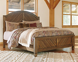 Colestad Queen Panel Bed, Light Brown, rollover