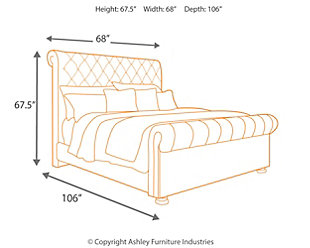 Windville Queen Upholstered Sleigh Bed, Linen, large