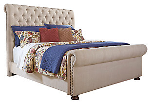 Windville Queen Upholstered Sleigh Bed, Linen, large
