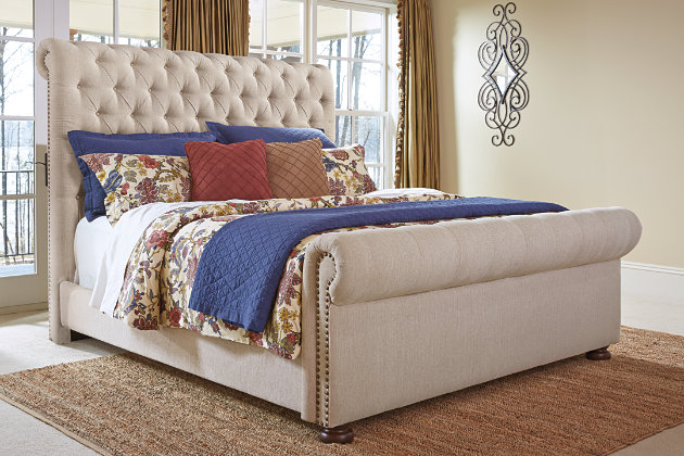 Windville Queen Upholstered Sleigh Bed, Linen, Large ...