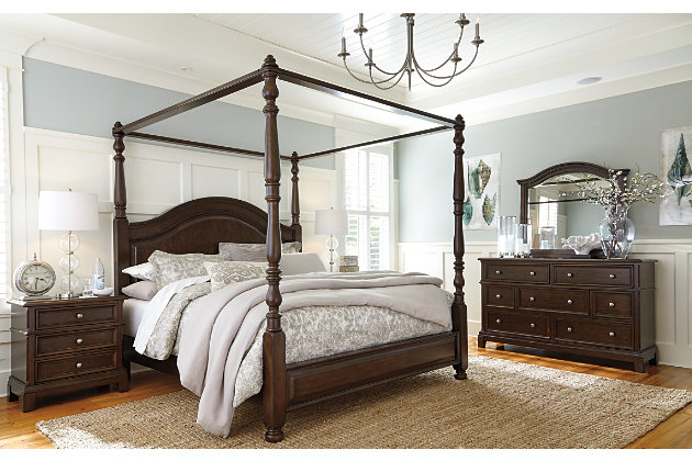 Lavidor King Canopy Bed, Brown, large