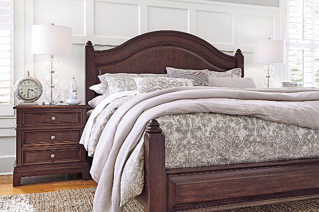 Lavidor King Poster Bed, Brown, large