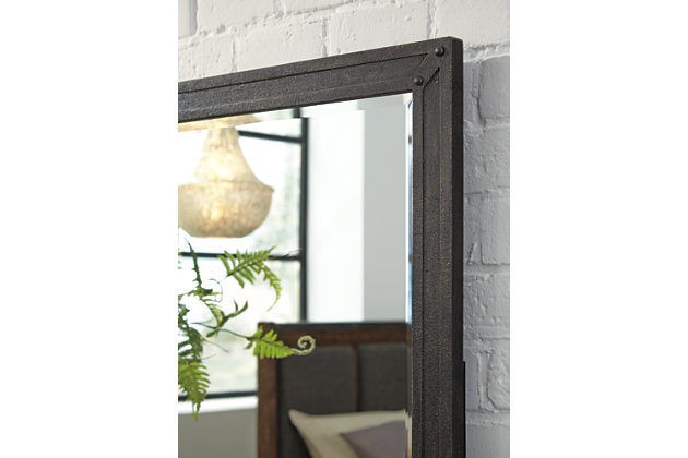 Close Up View Of Zenfield Metal Bedroom Mirror