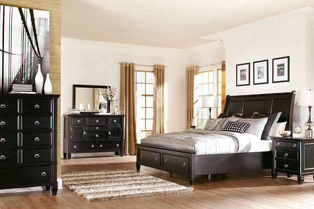 Greensburg Queen Sleigh Bed with Storage, Black, large
