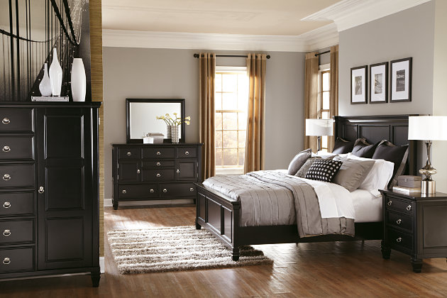 Greensburg black panel bed frame and door chest. Greensburg Queen Panel Bed   Ashley Furniture HomeStore