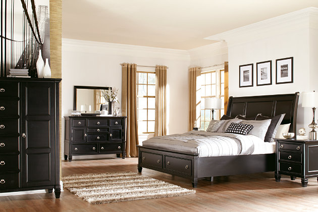 Greensburg sleigh bed set with door chest, dresser, and nightstand - Greensburg Dresser And Mirror Ashley Furniture HomeStore