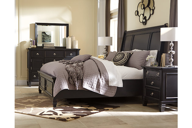 Greensburg black bed frame with footboard storage compartments. Greensburg Dresser and Mirror   Ashley Furniture HomeStore