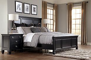 Greensburg King Panel Bed, Black, large