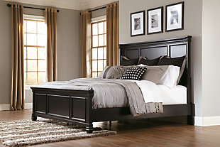 Greensburg Queen Panel Bed, Black, rollover