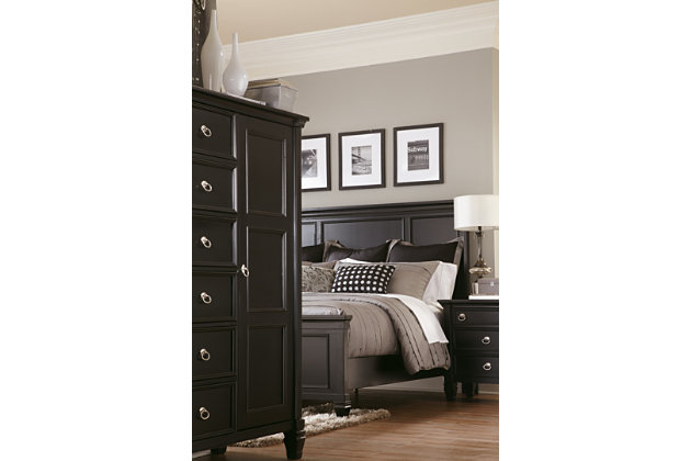 Greensburg black bedroom set with door chest. Greensburg Queen Panel Bed   Ashley Furniture HomeStore