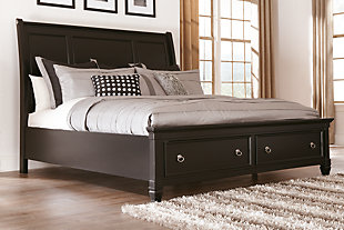 Greensburg Queen Sleigh Bed with Storage, Black, rollover