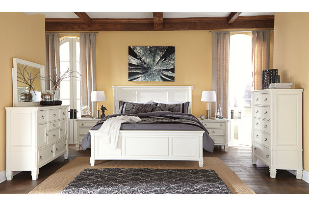 Prentice white bedroom set with gray accents. Prentice Queen Panel Bed   Ashley Furniture HomeStore