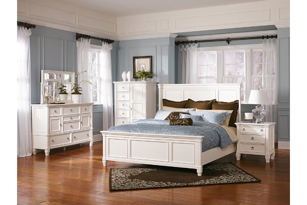 prentice white bedroom set with metal pull handle hardware