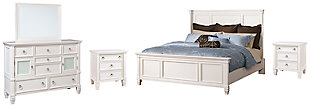 Prentice Queen Panel Bed with Mirrored Dresser and 2 Nightstands, White, large