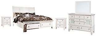 Prentice Queen Sleigh Bed with 2 Storage Drawers with Mirrored Dresser and 2 Nightstands, White, large