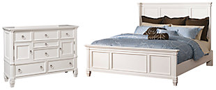 Prentice Queen Panel Bed with Dresser, White, large