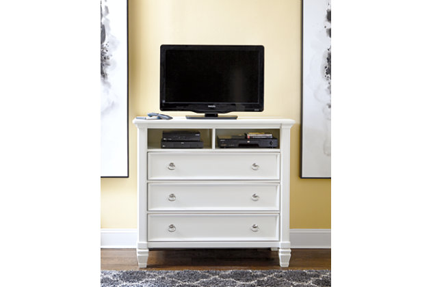 Prentice white bedroom three drawer media chest. Prentice Media Chest   Ashley Furniture HomeStore