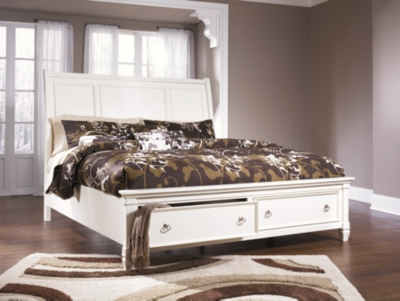 Ashley Prentice Queen Sleigh Bed with Storage, White
