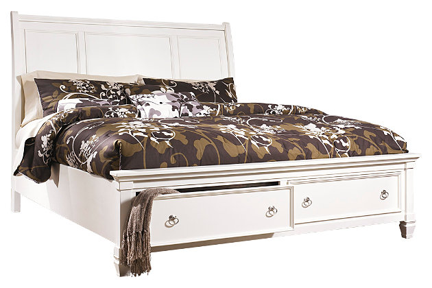 Prentice Queen Sleigh Bed with Storage, White, large