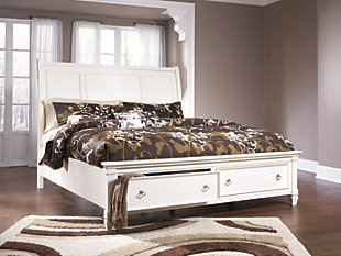 Prentice Queen Sleigh Bed with 2 Storage Drawers, White, rollover