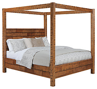 Wesling Queen Poster Bed, Rustic Brown, large