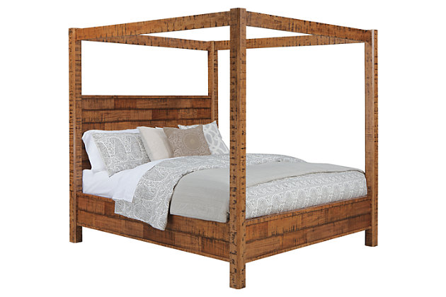 Wesling Queen Poster Bed Rustic Brown large ...  sc 1 st  Ashley Furniture HomeStore & Wesling Queen Poster Bed | Ashley Furniture HomeStore