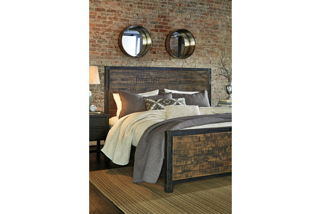 Wesling Queen Panel Bed, Rustic Brown, large