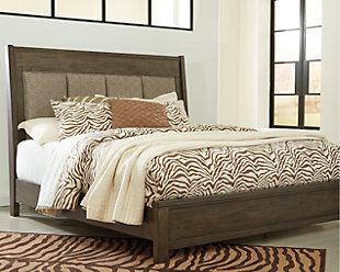 Camilone Queen Upsholstered Panel Bed, Dark Gray, rollover